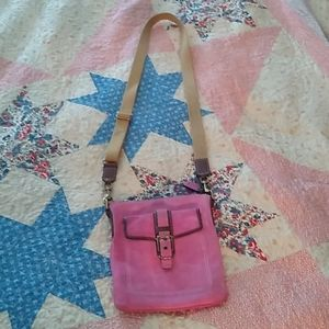 Coach pink suede shoulder bag